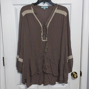Taupe Lace Up Blouse